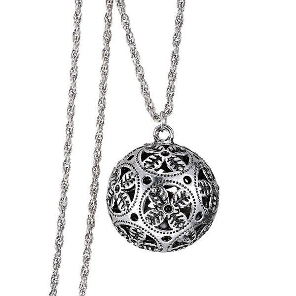 Chic Hollow Out Ball Sweater Chain For Women - SILVER
