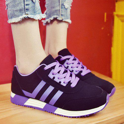 Trendy Lace-Up and Striped Design Women's Athletic Shoes - PURPLE 37