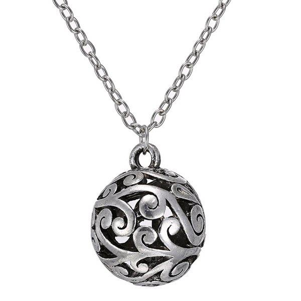 Trendy Hollow Out Ball Sweater Chain For Women - SILVER