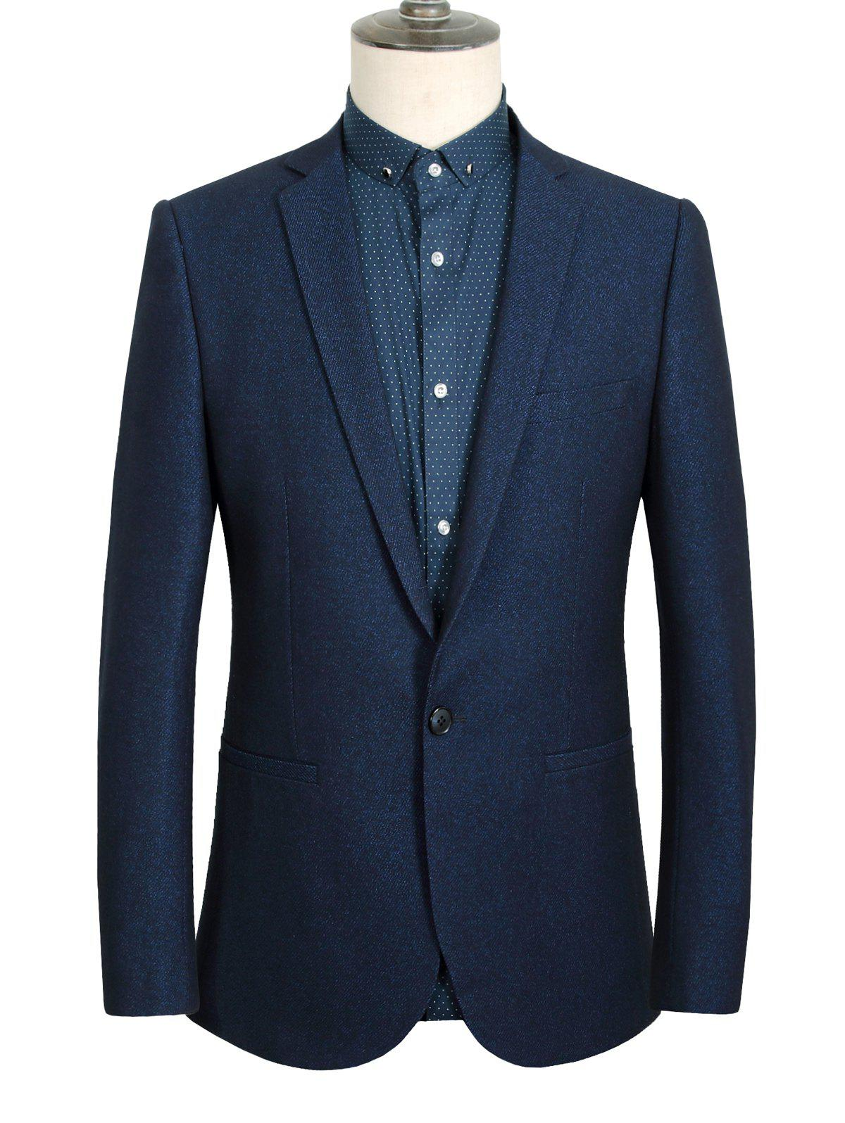 One Button Design Lapel Long Sleeve Slimming Solid Color Men's Blazer - DEEP BLUE 3XL