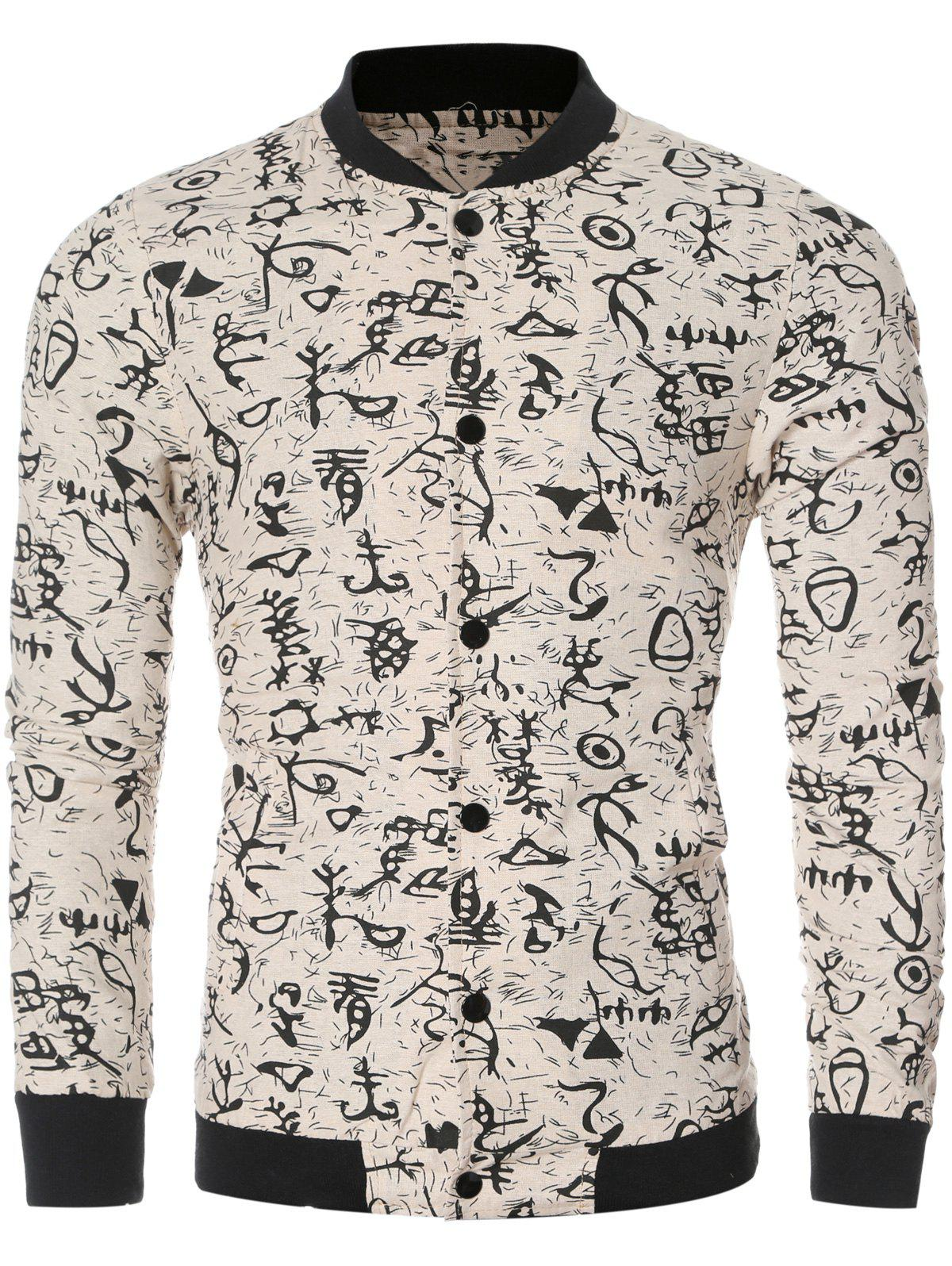 Ancient Letter Print Collar Long Sleeve Bomber Jacket - OFF WHITE 2XL