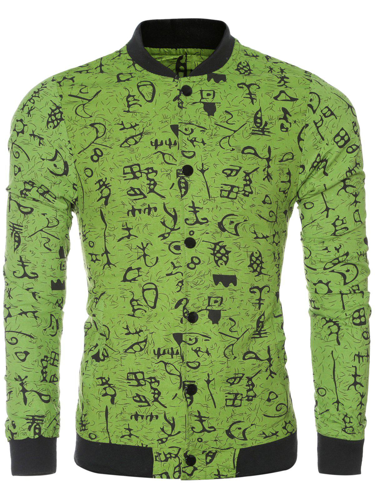 Ancient Letter Print Collar Long Sleeve Bomber Jacket - GREEN L