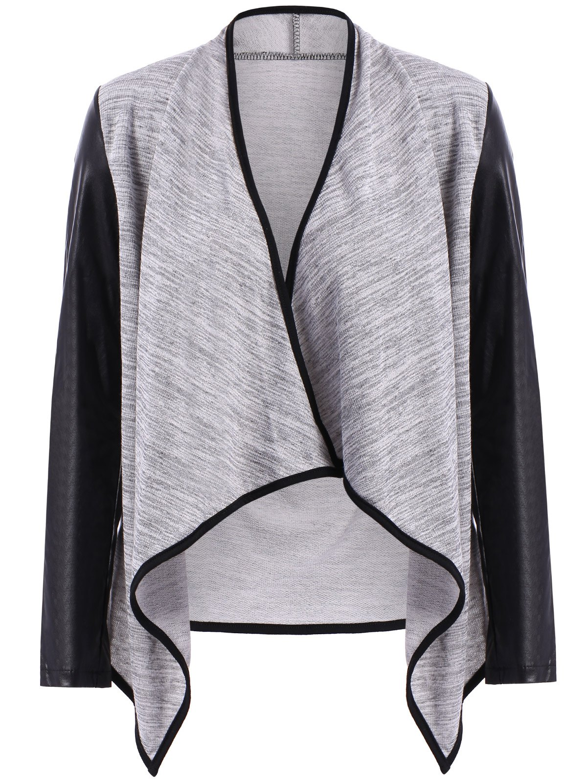 Stylish Long Sleeve Stand Collar High-Low Hem PU Leather Spliced Women's Jacket - GRAY S