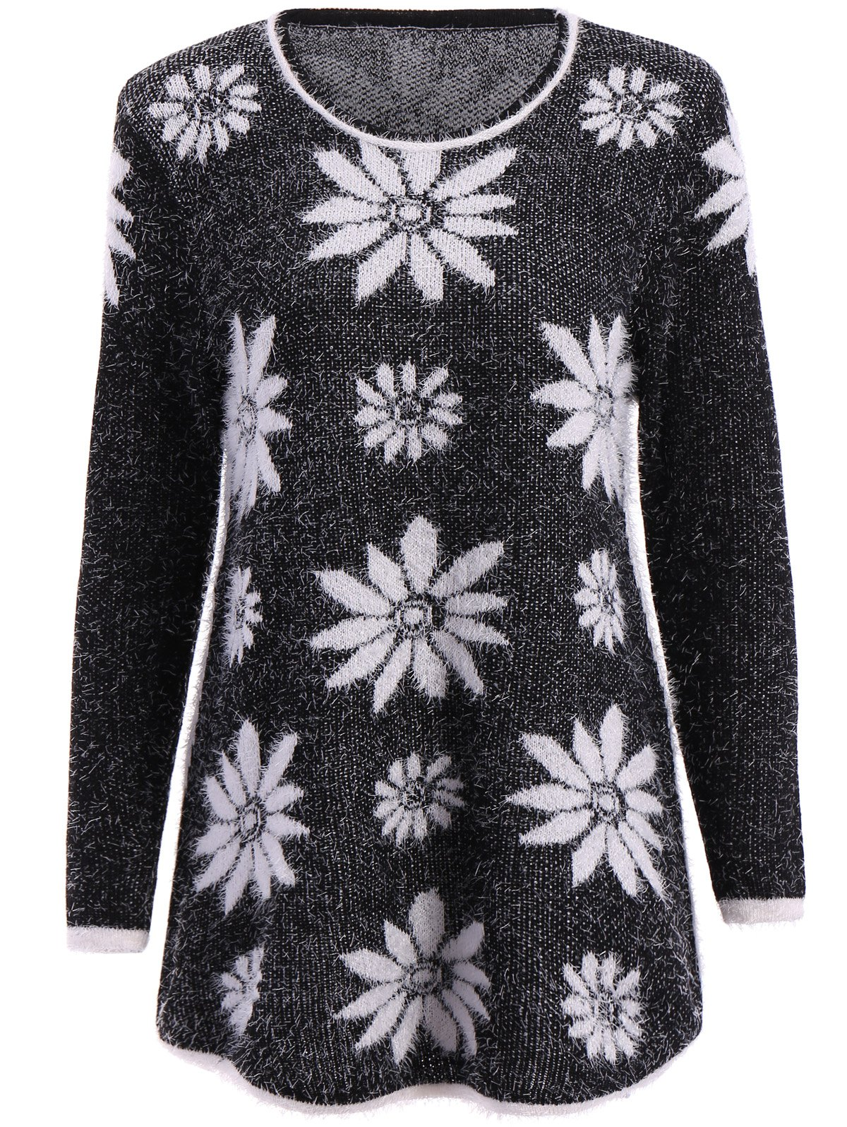 Trendy Long Sleeve Round Collar Flower Pattern Women's Sweater - BLACK ONE SIZE(FIT SIZE XS TO M)