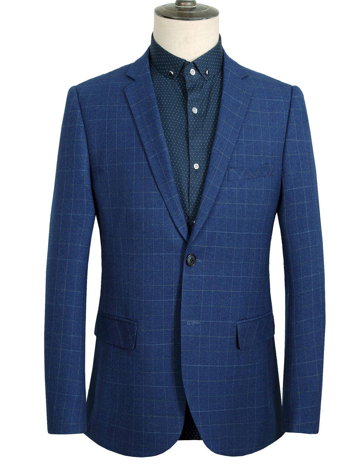 Single Breasted Lapel Long Sleeve Plaid Men's Blazer - BLUE 3XL