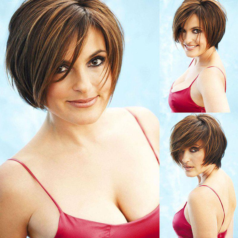 Short Brown Mixed Layered Bob Side Parting Synthetic Hair Wig - COLORMIX