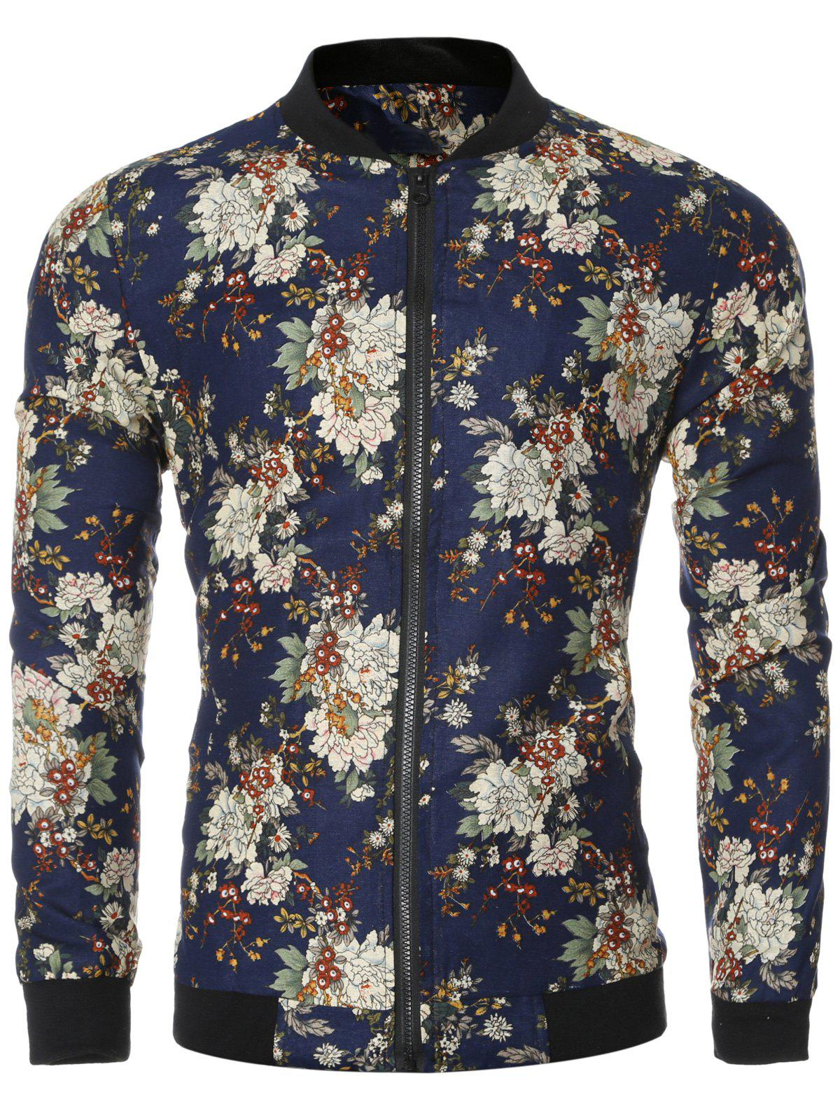Vintage Flower Print Long Sleeve Bomber Collar Jacket - DEEP BLUE 2XL