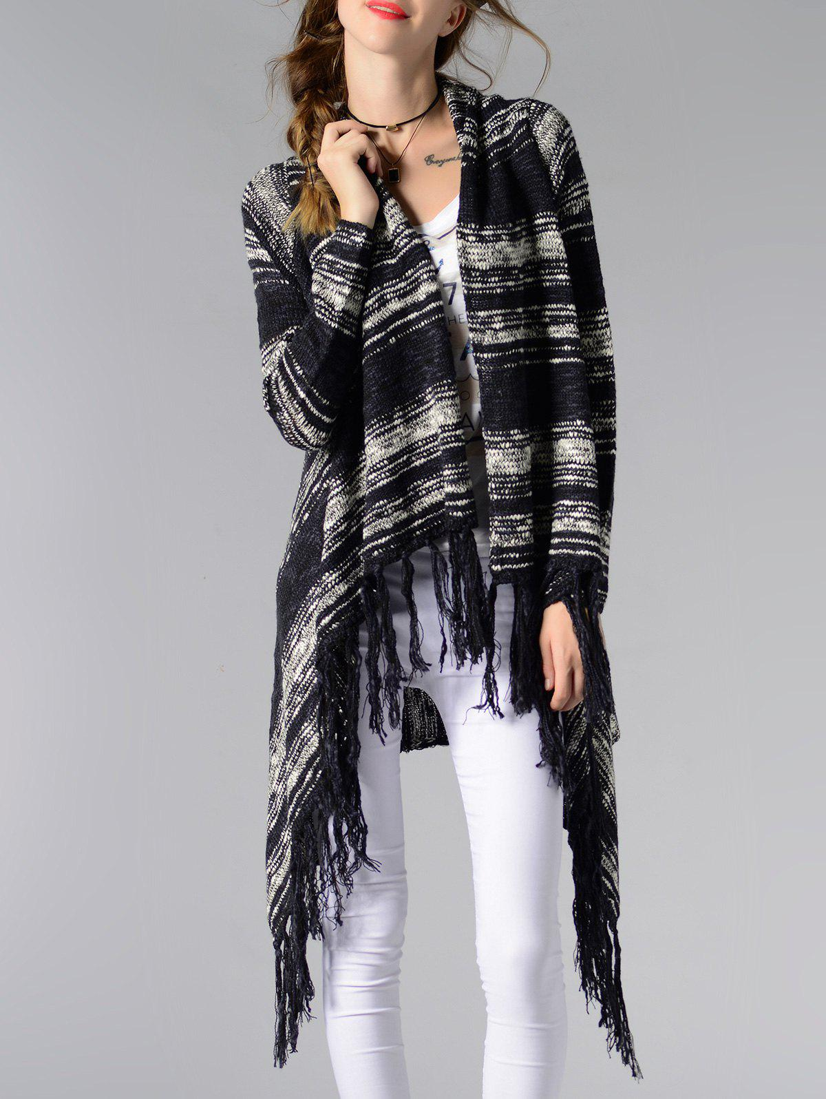 Trendy Collarless Asymmetrical Fringed Women's Cardigan