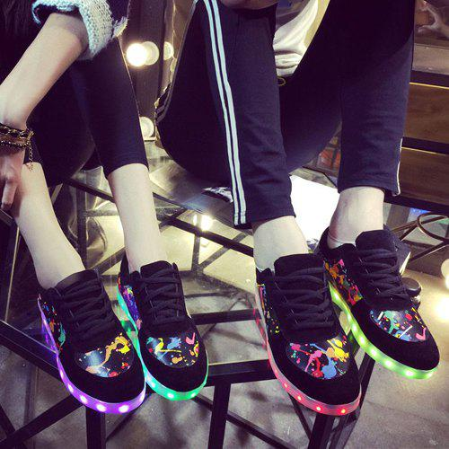 Chic Lights Up Led Luminous and Colour Block Design Women's Athletic Shoes