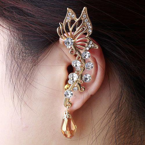 ONE PIECE Butterfly Rhinestone Ear Cuff one piece stylish women s rhinestone cross ear cuff