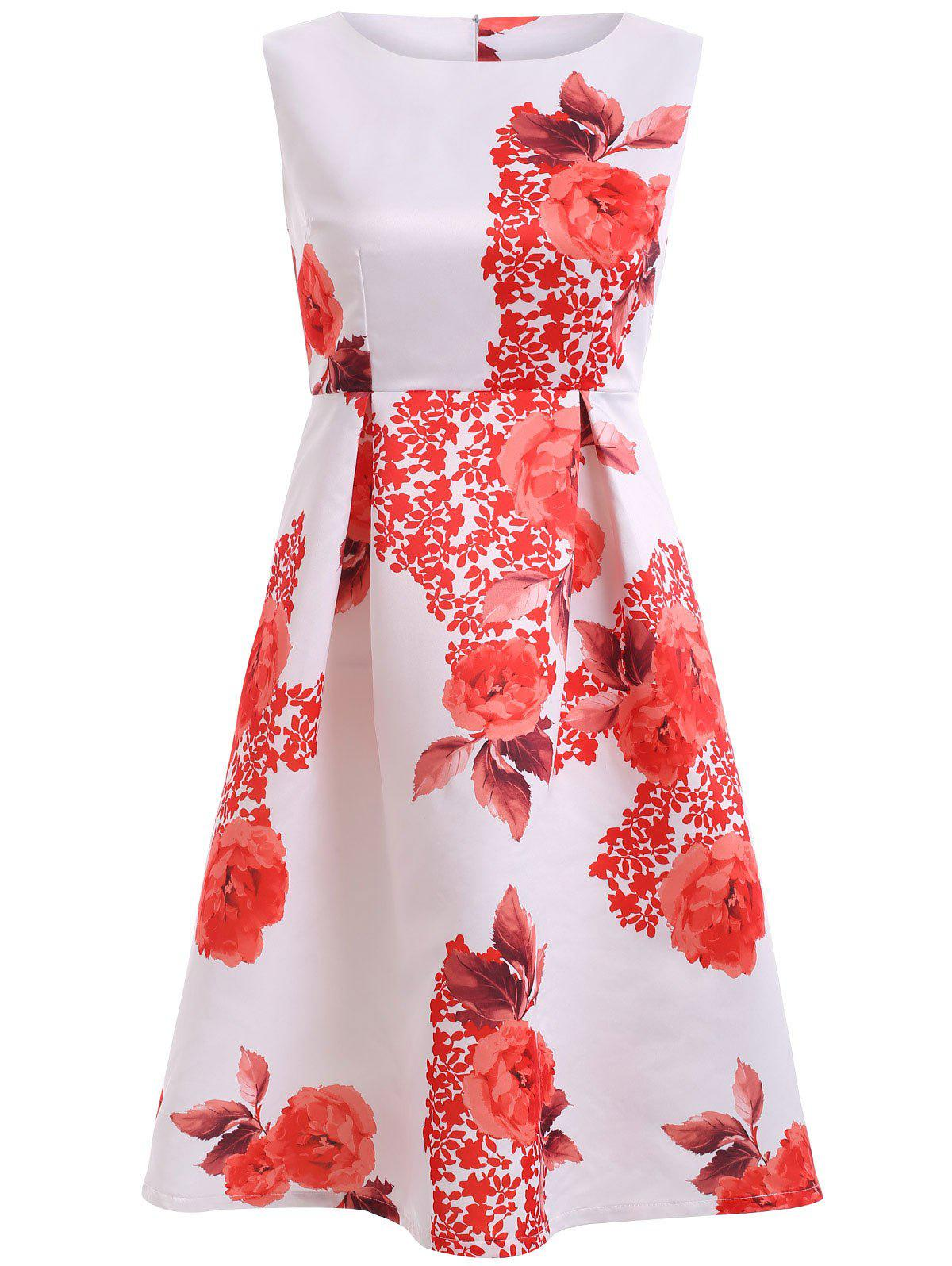Sweet Women's Floral Print High Waist Flare Dress - WHITE XL