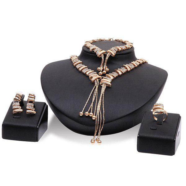Vintage Cut Out Rhinestone Geometric Gold Plated Necklace Set - ROSE GOLD