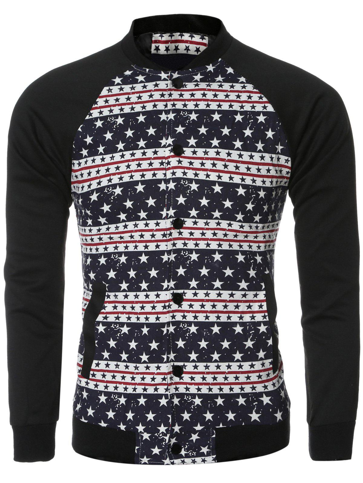 Stars and Stripe Printed Spliced Long Sleeve Bomber Jacket - COLORMIX 2XL
