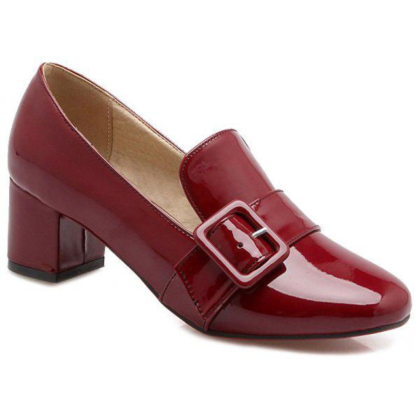 Stylish Patent Leather and Buckle Design Women's Pumps - WINE RED 37