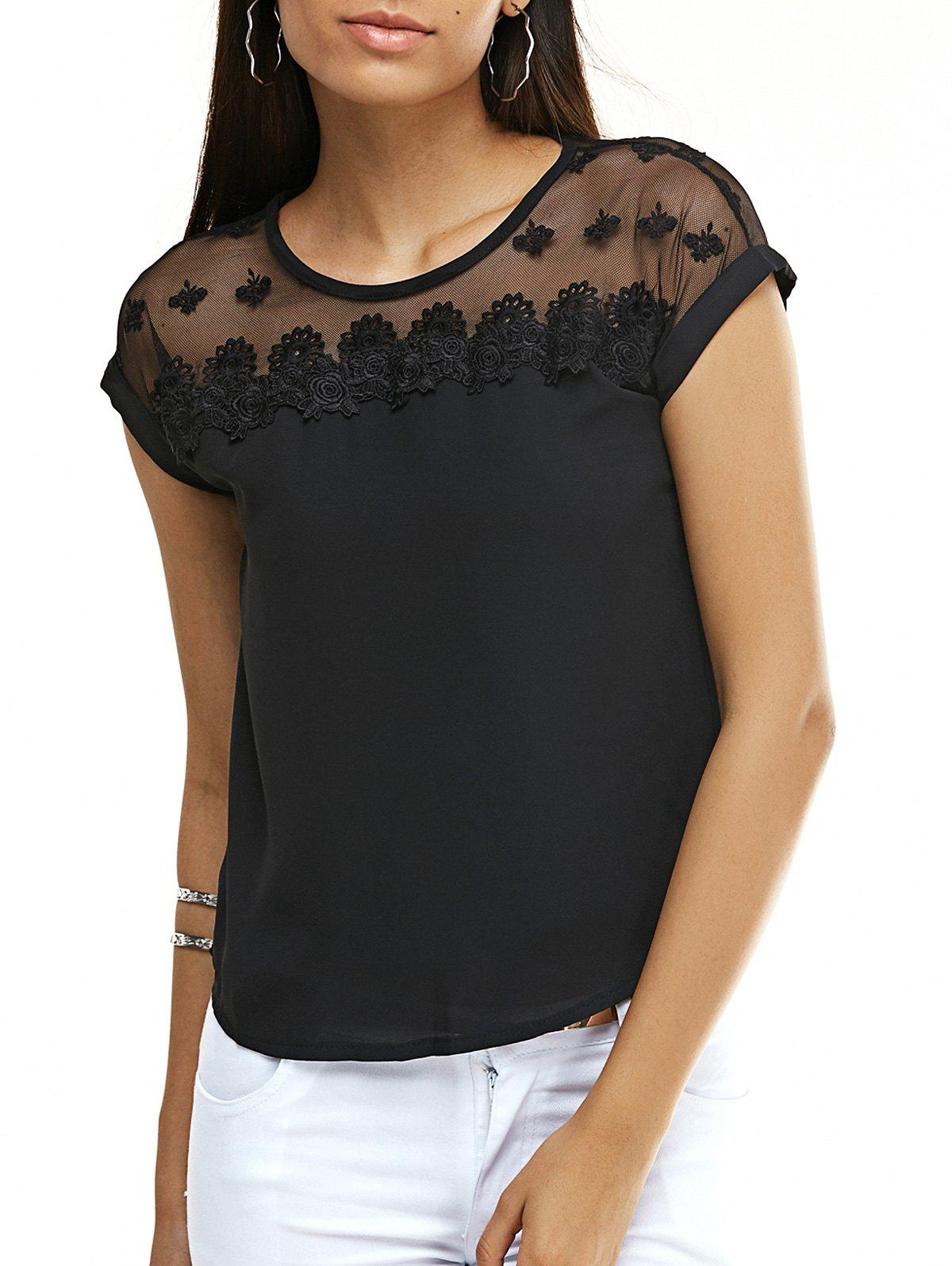 Sweet Floral See-Through Chiffon T-Shirt For Women - BLACK 3XL