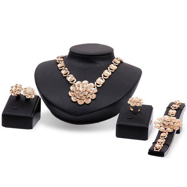 Gold Plated Cut Out Floral Rhinestone Necklace Set - ROSE GOLD