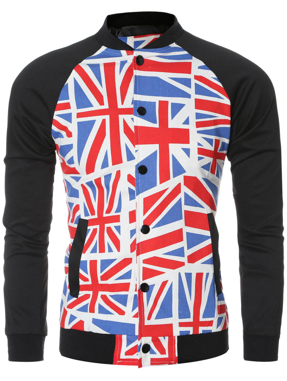 The Union Jack Printed Baseball Collar Long Sleeve Jacket For Men - COLORMIX 2XL