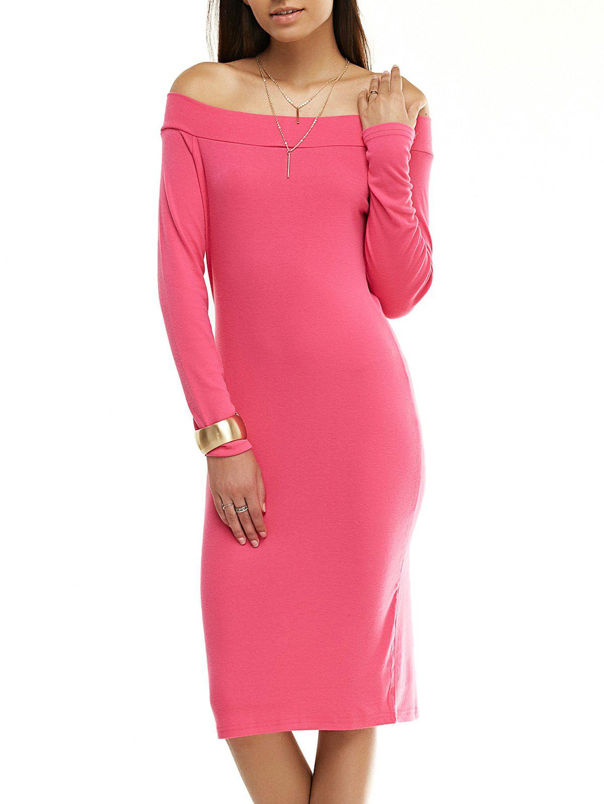 Attractive Off-The-Shoulder Long Sleeve Solid Color Dress For Women - ROSE RED XL