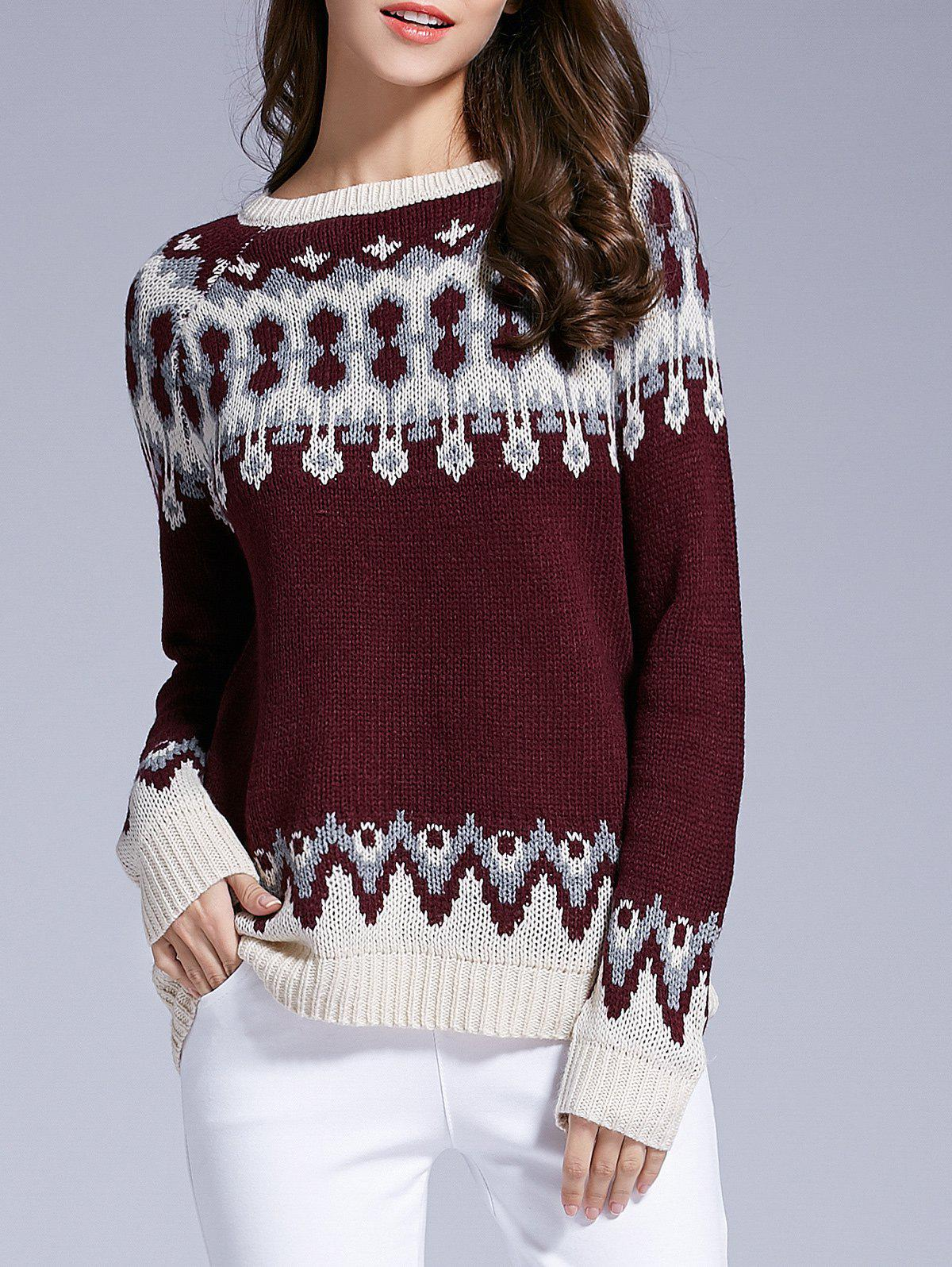 Long Sleeve Round Neck Patterned Sweater - WINE RED M