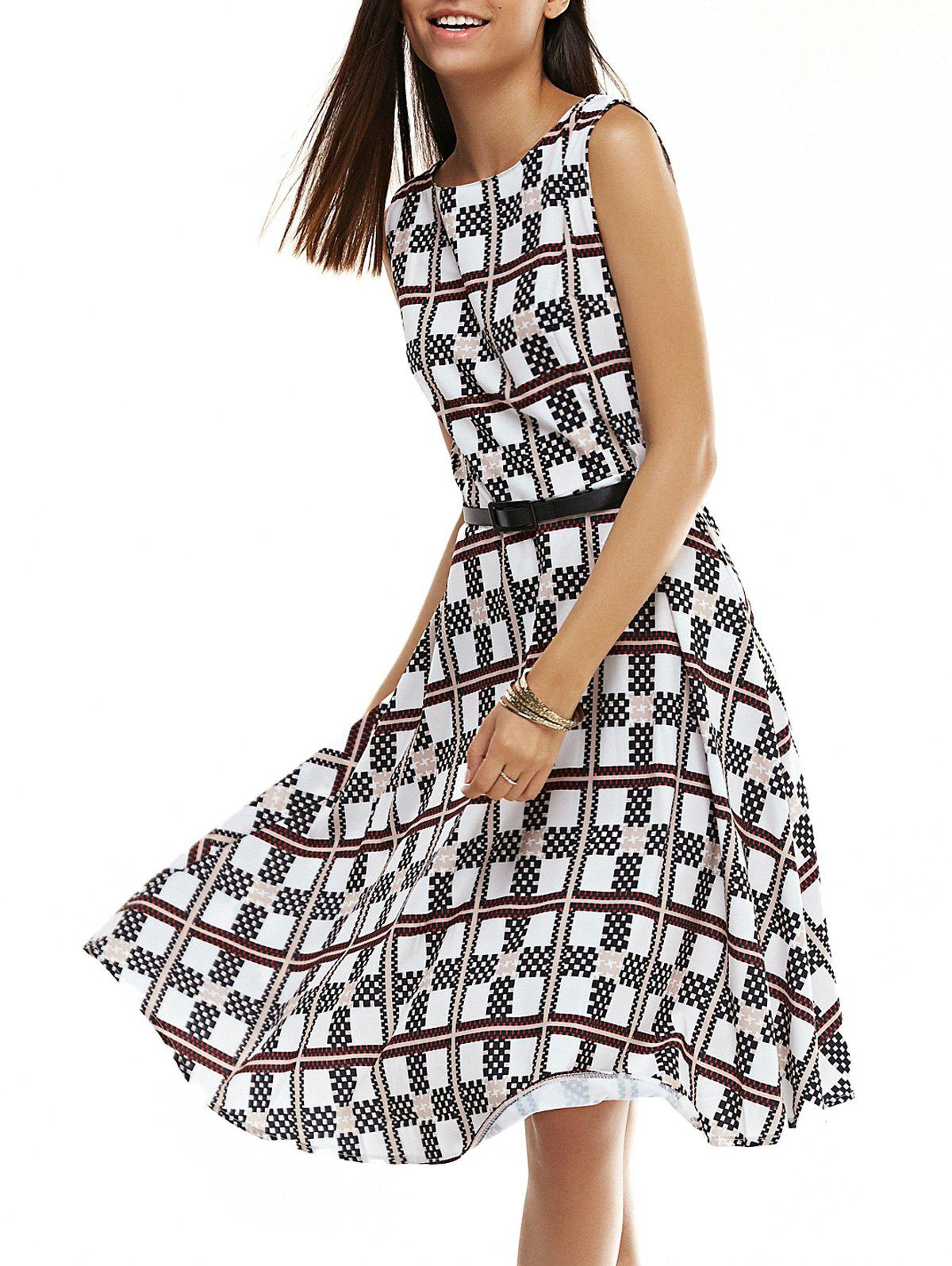 Elegant Geometric Pattern Fit and Flare Dress For Women - COLORMIX L