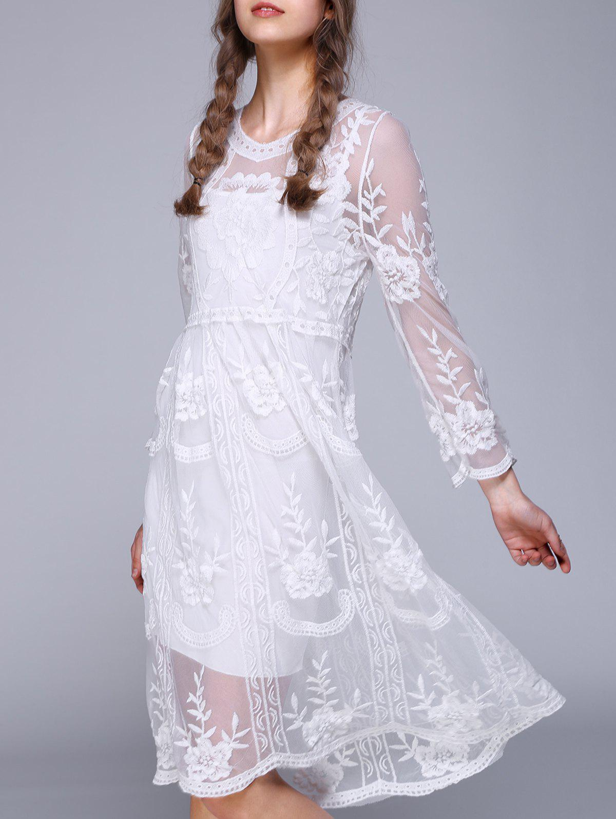 3/4 Sleeve Lace Splicing Embroidery Dress - WHITE ONE SIZE