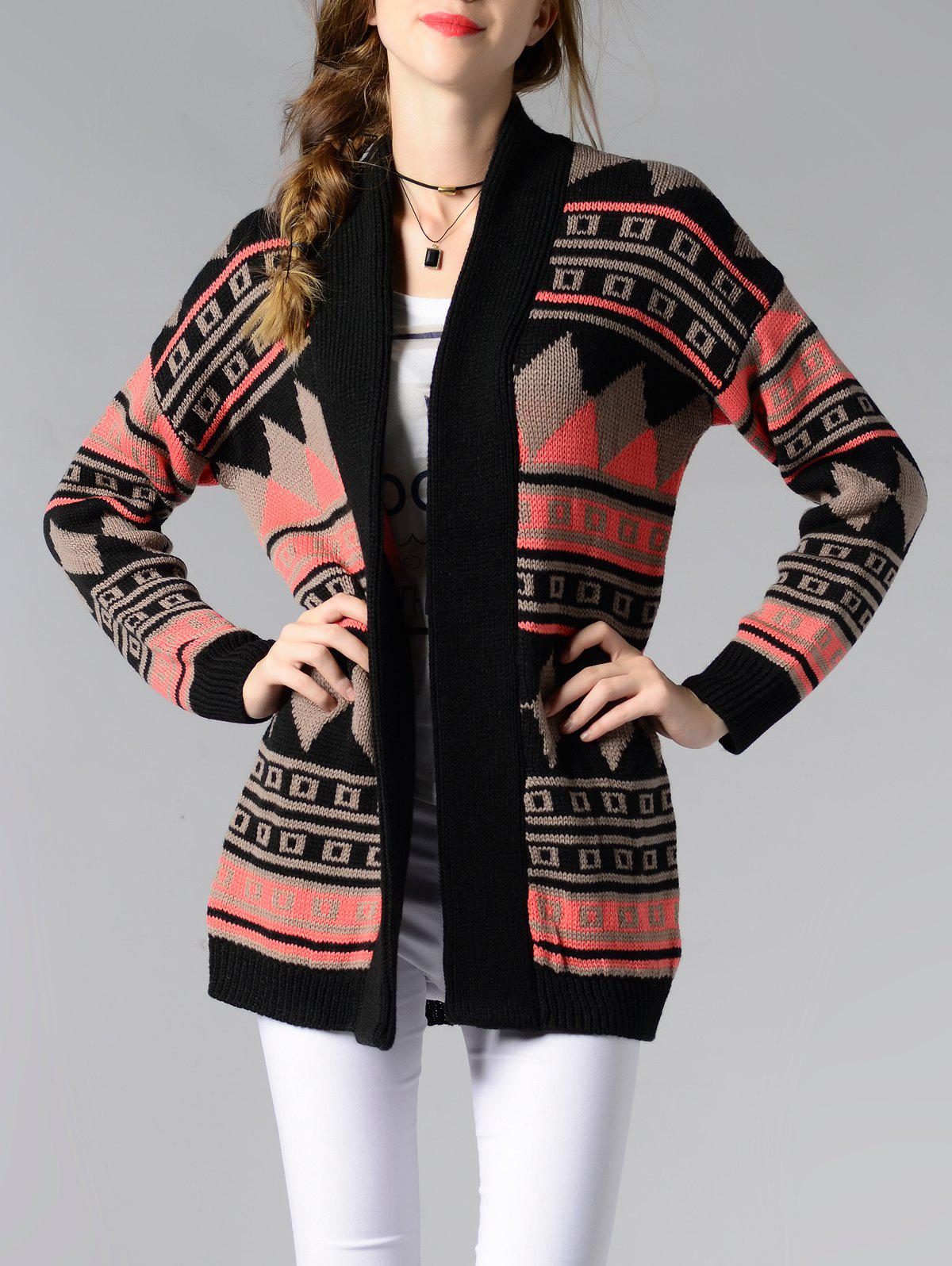 Collarless Long Sleeve Tribal Jacquard Cardigan - COLORMIX ONE SIZE