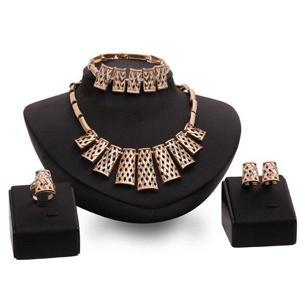 Graceful Hollow Out Rose Gold Rhinestone Fence Necklace Set For Women