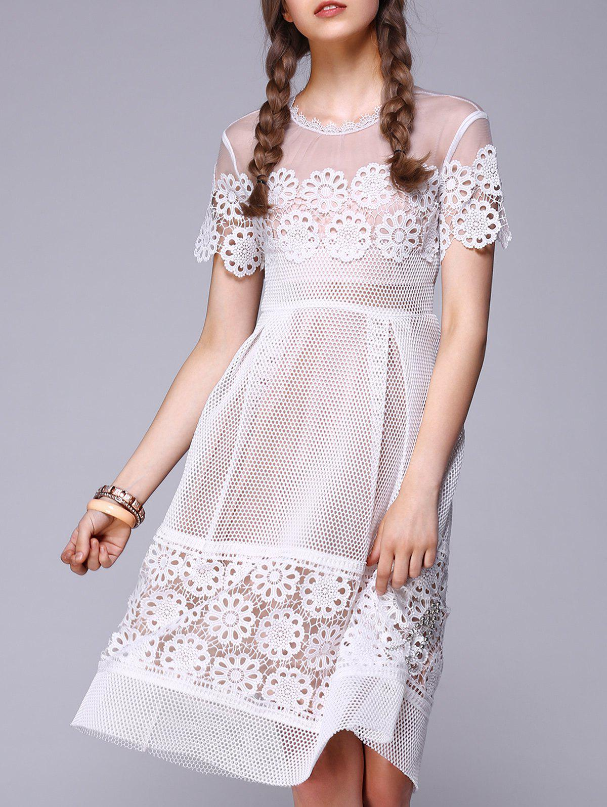 See-Through Lace Splicing Embroidery Dress - WHITE 2XL