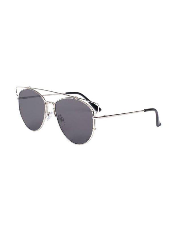 Stylish Cut Out Crossbar Pilot Sunglasses - GRAY