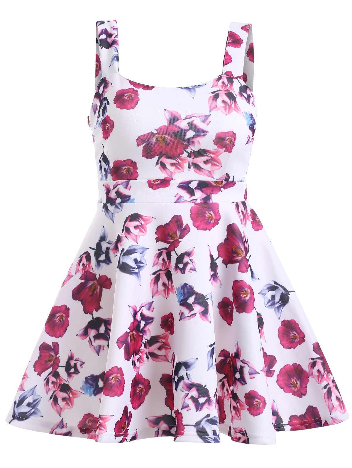 Graceful Women's Backless Floral Print Flare Dress