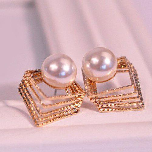Pair of Square Faux Pearl Earrings - GOLDEN