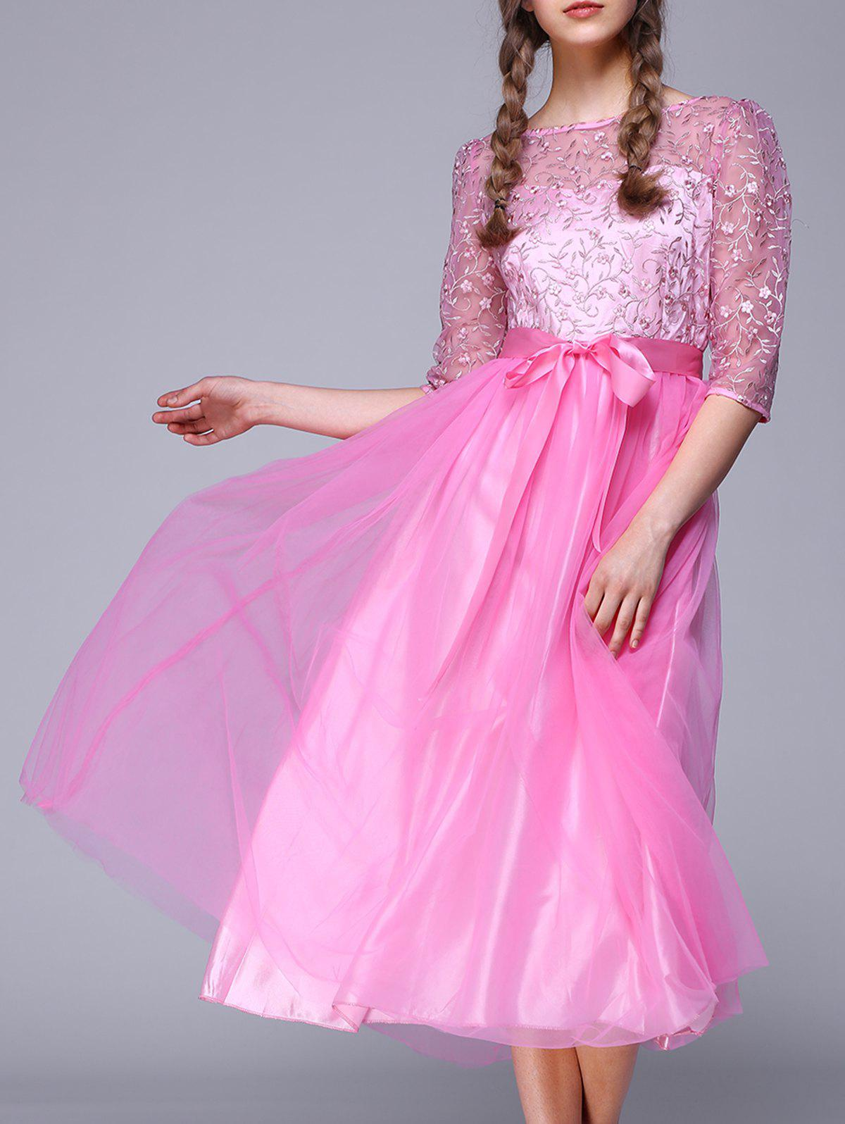 1/2 Sleeve See-Through Lace Splicing Embroidery Dress - PINK 2XL