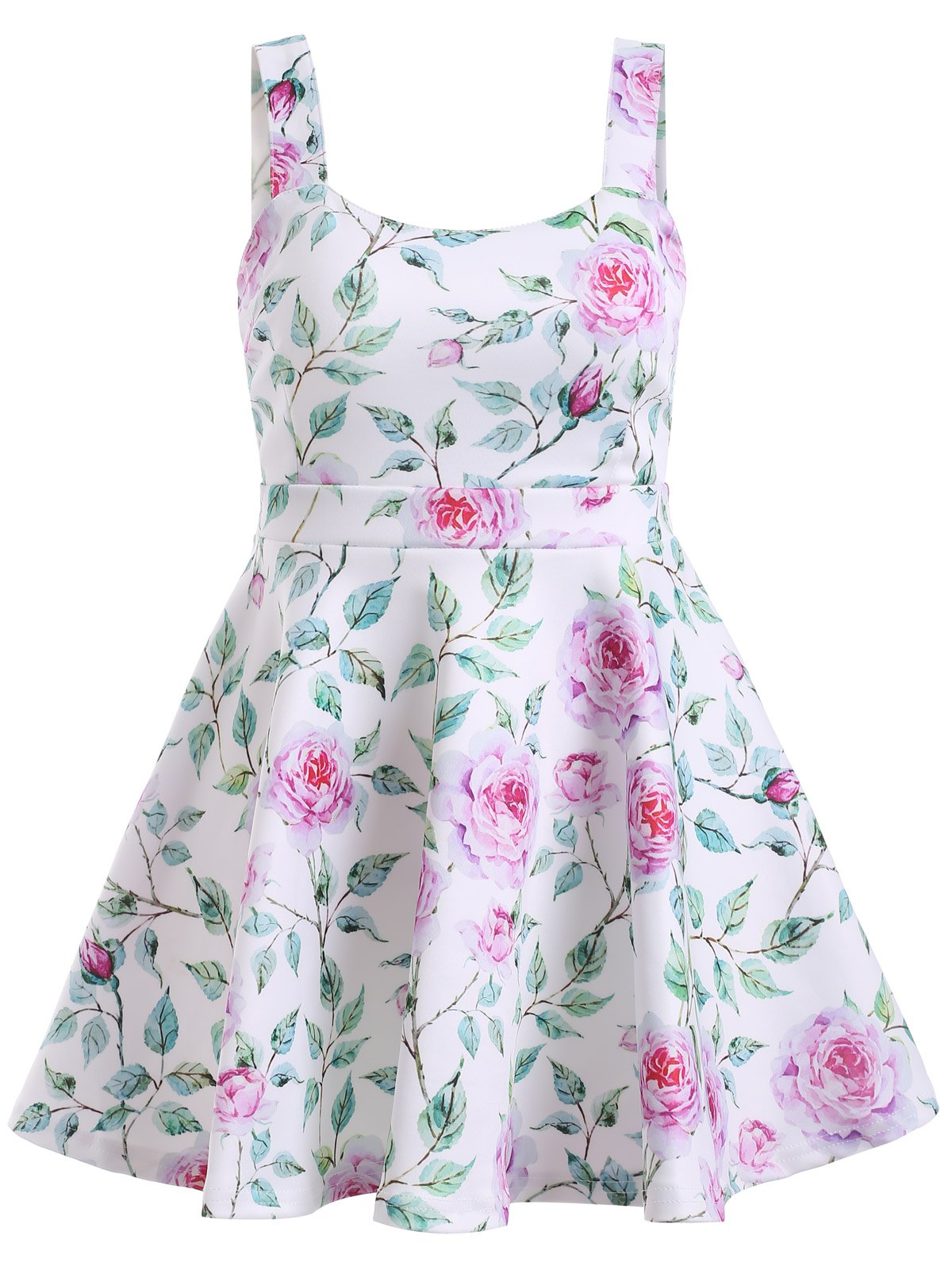 Graceful Women's Open Back Floral Print Flare Dress - PINK / GREEN ONE SIZE
