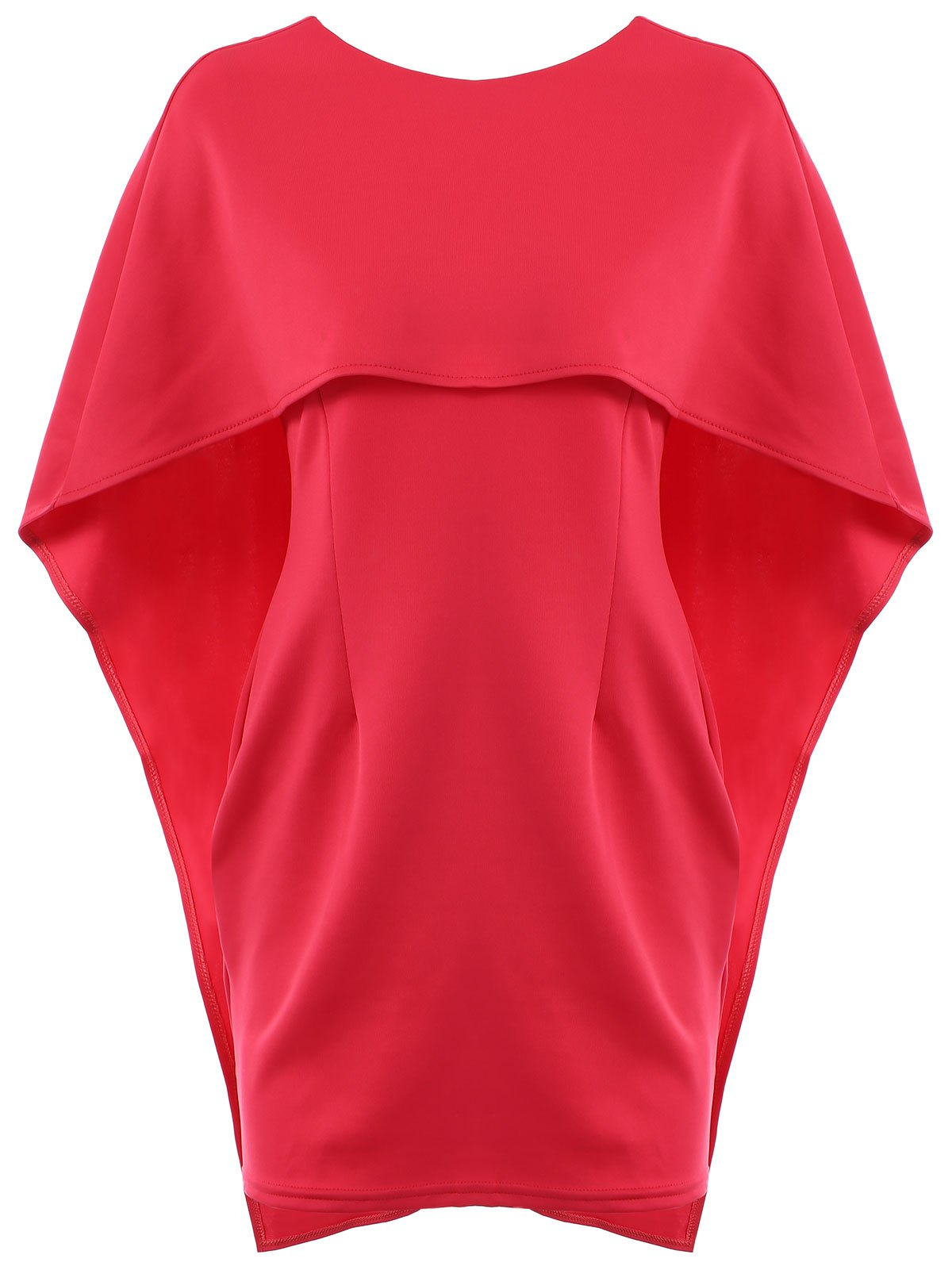 Sexy Half Sleeve Round Neck Pure Color Women's Dress - RED M