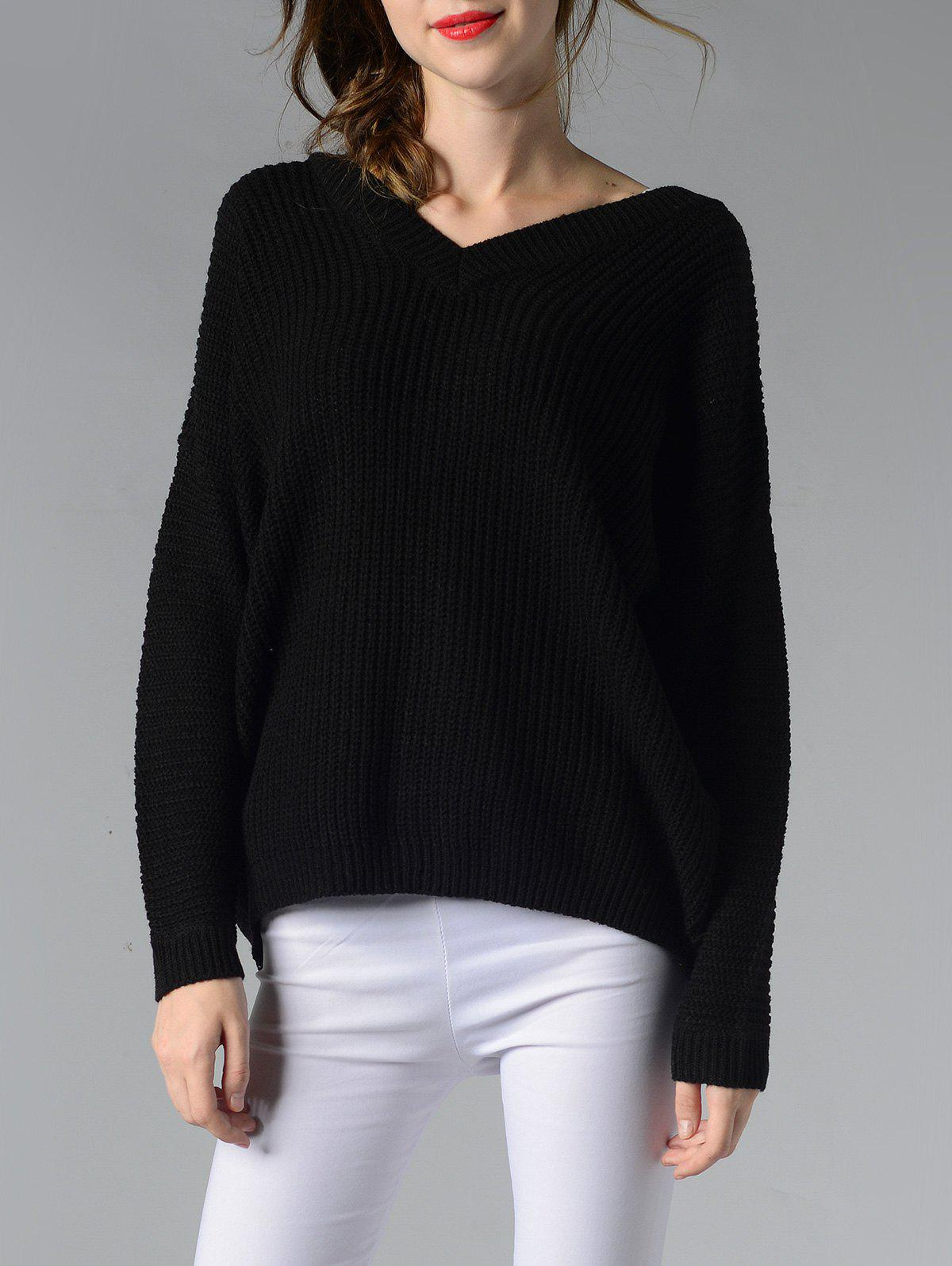 Trendy V-Neck Ribbed Solid Color Women's Sweater - BLACK M