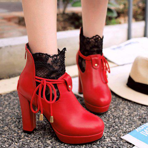 Chic Chunky Heel and Splicing Design Women's Short Boots - RED 37