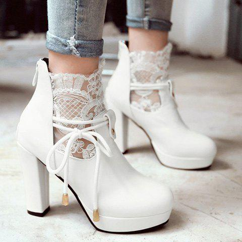 Chic Chunky Heel and Splicing Design Women's Short Boots - WHITE 39