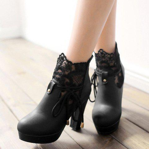 Chic Chunky Heel and Splicing Design Women's Short Boots - BLACK 37