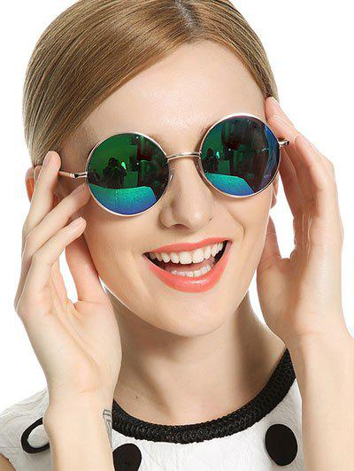 Stylish Metal Frame Round Mirrored Sunglasses - BLUE