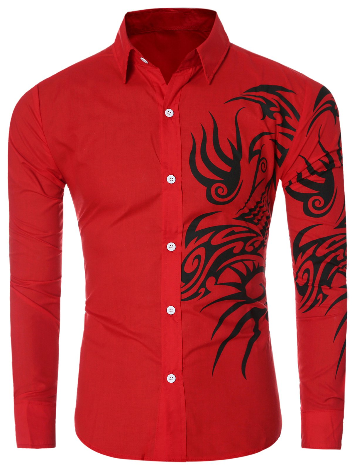 Long Sleeve Tatoo Floral Printed Shirt - RED 2XL