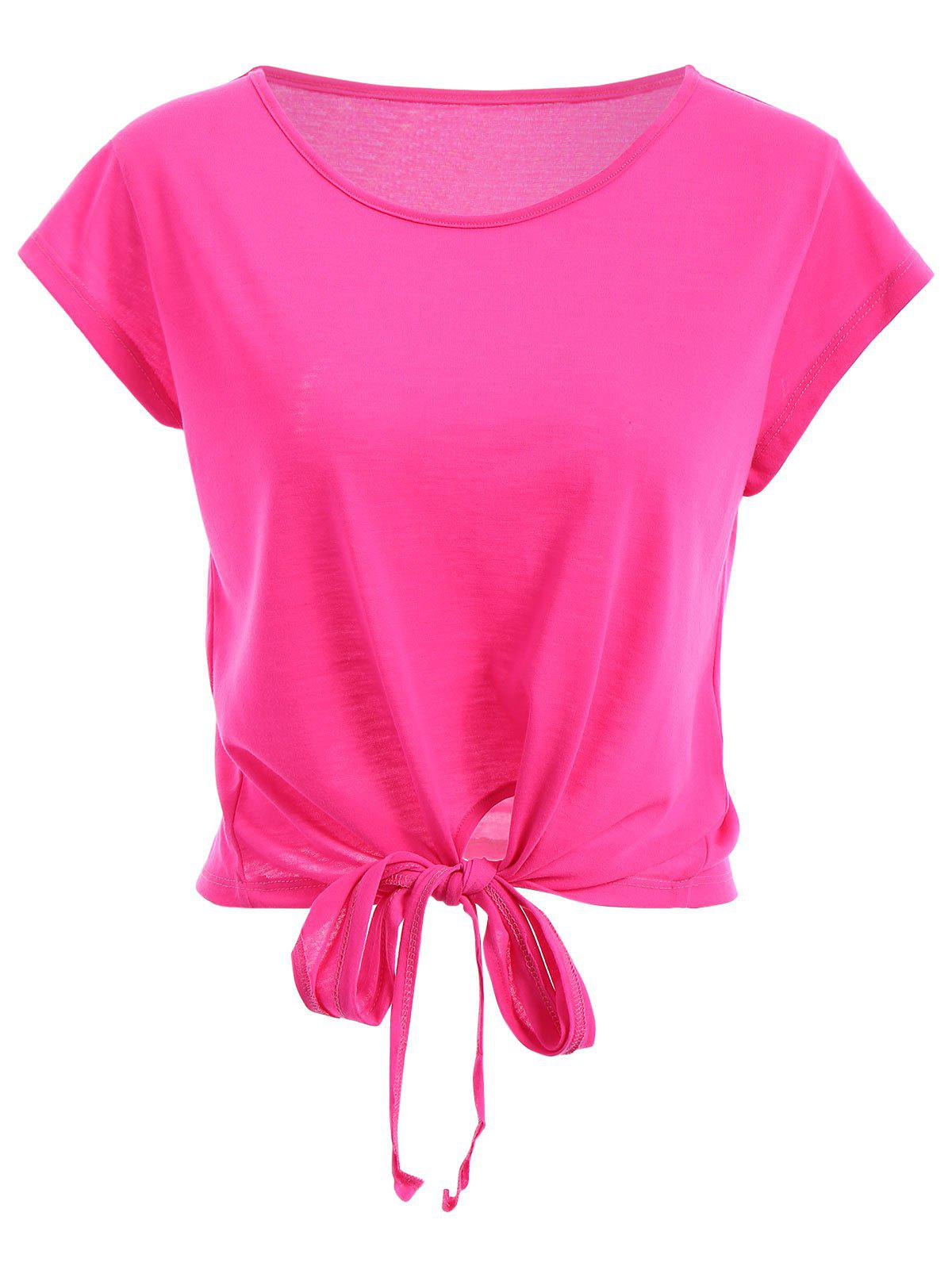 Active Scoop Neck Short Sleeve Candy Color Sport T-Shirt For Women - PEACH RED S