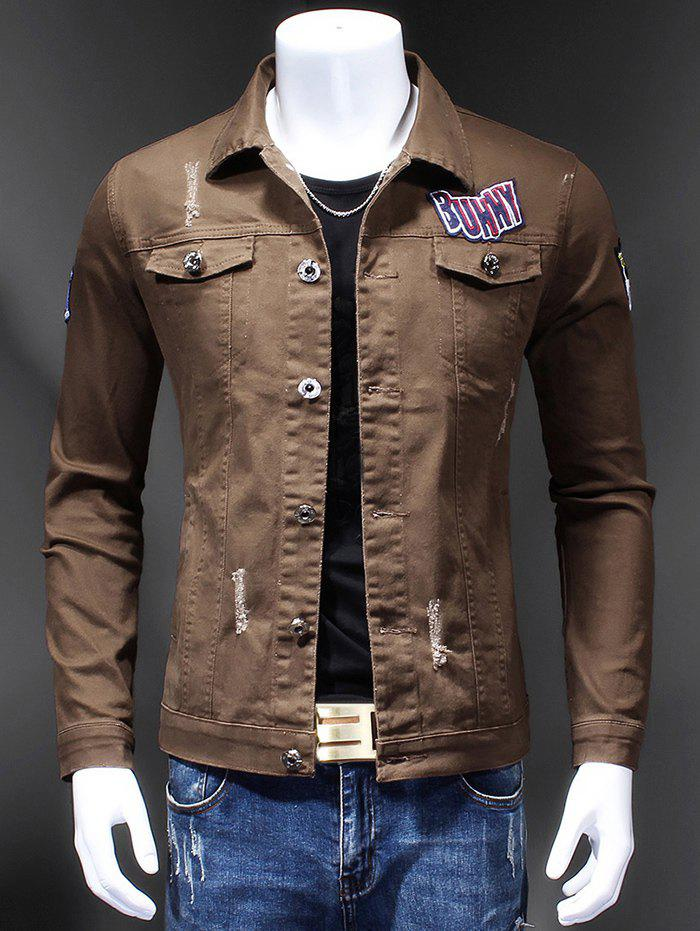 Turn-Down Collar Appliques Holes Design Embroidery Long Sleeve Men's Denim Jacket - COFFEE M