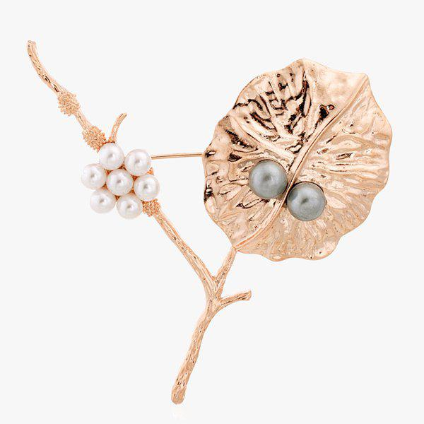 Leaf Artificial Pearl Brooch - GOLDEN