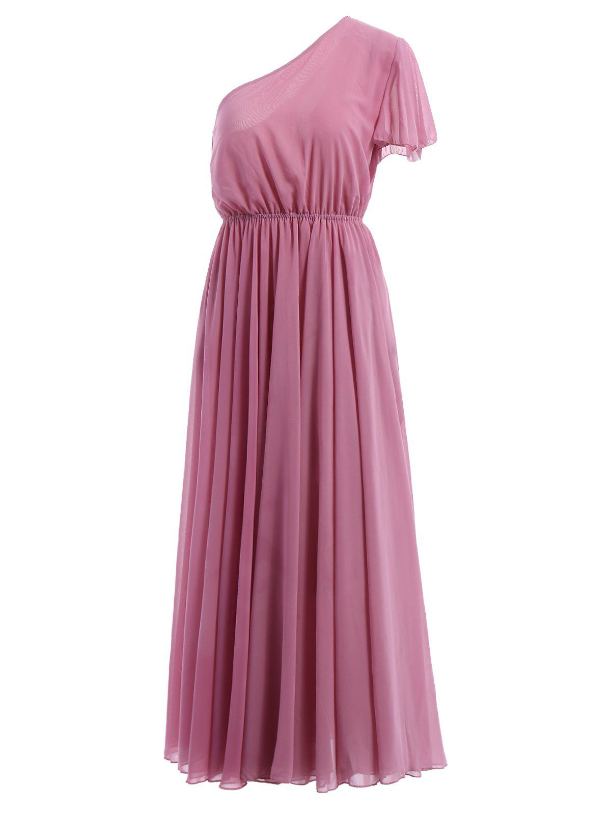 Sweet Women's One-Shoulder Short Sleeve Maxi Dress - PINK S