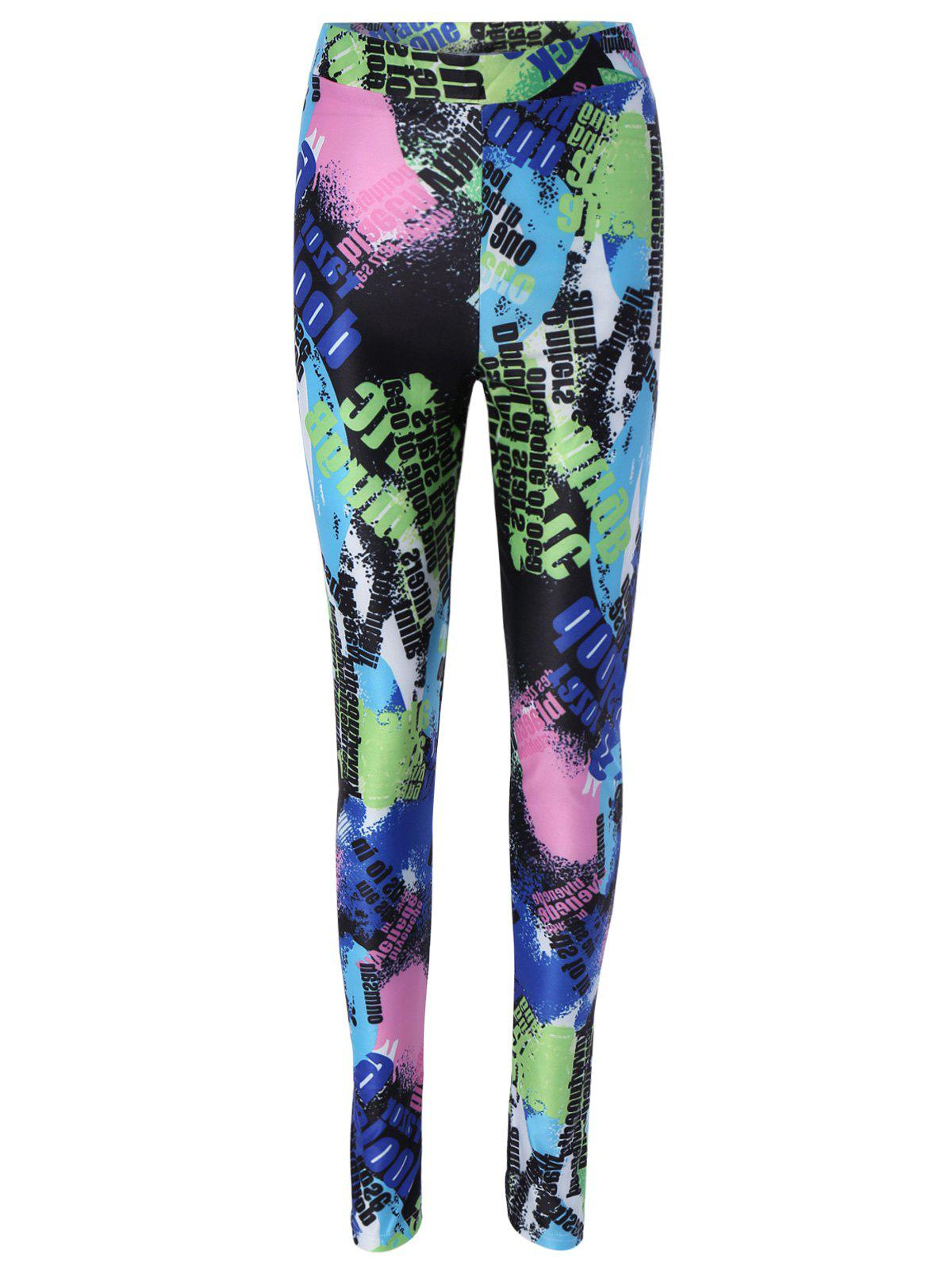 Color Block Printed Skinny Leggings - COLORMIX XL
