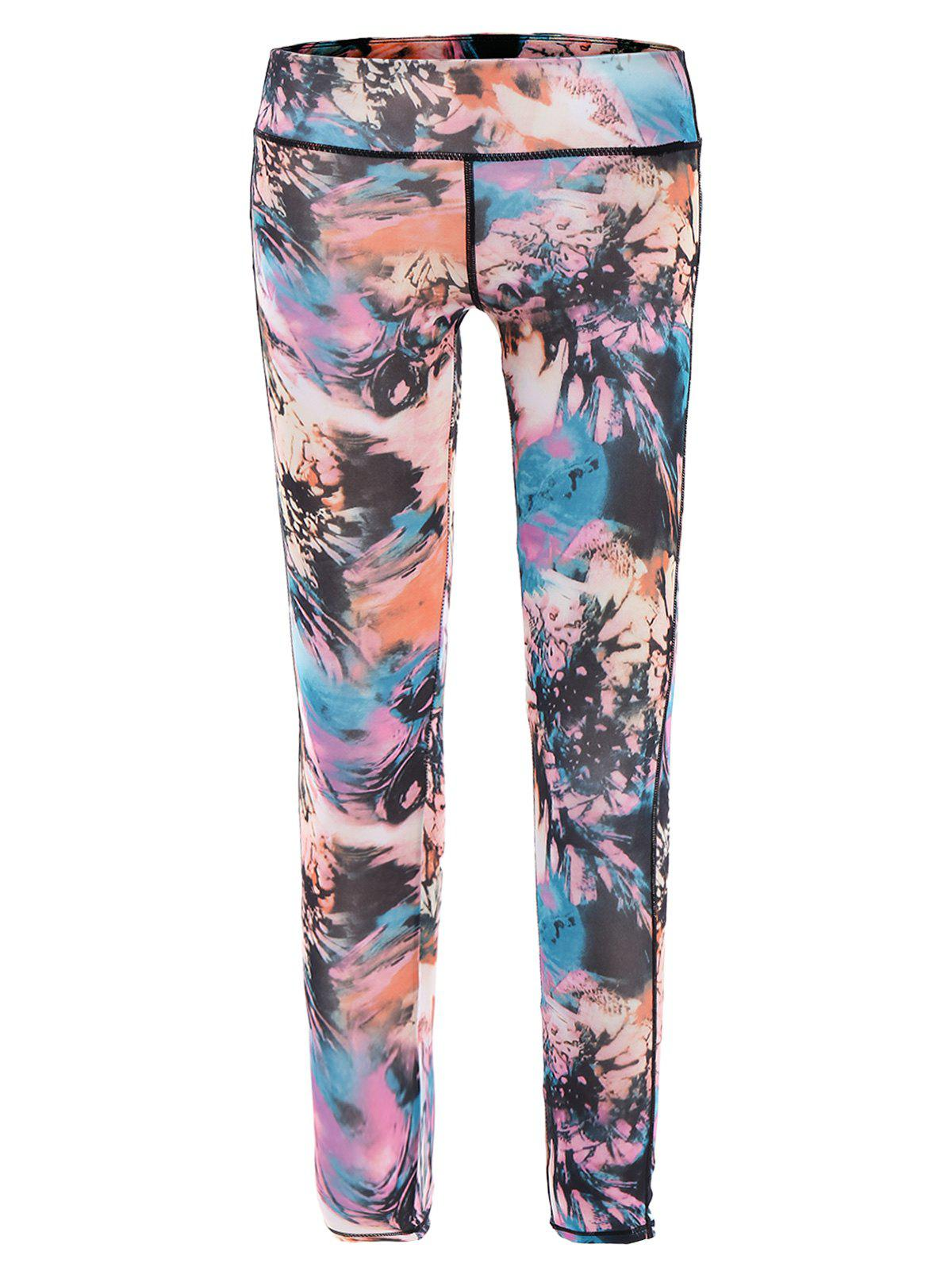Stylish Elastic Waist Printed Slimming Ninth Women's Gym Pants - COLORMIX S