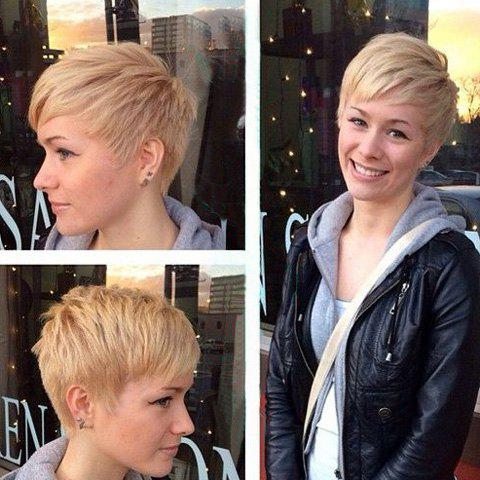 Short Spiffy Fluffy Side Bang Human Hair Wig For Women - BLONDE