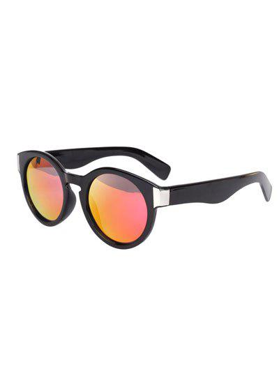 Stylish Black Frame Polarized Mirrored Sunglasses - RED