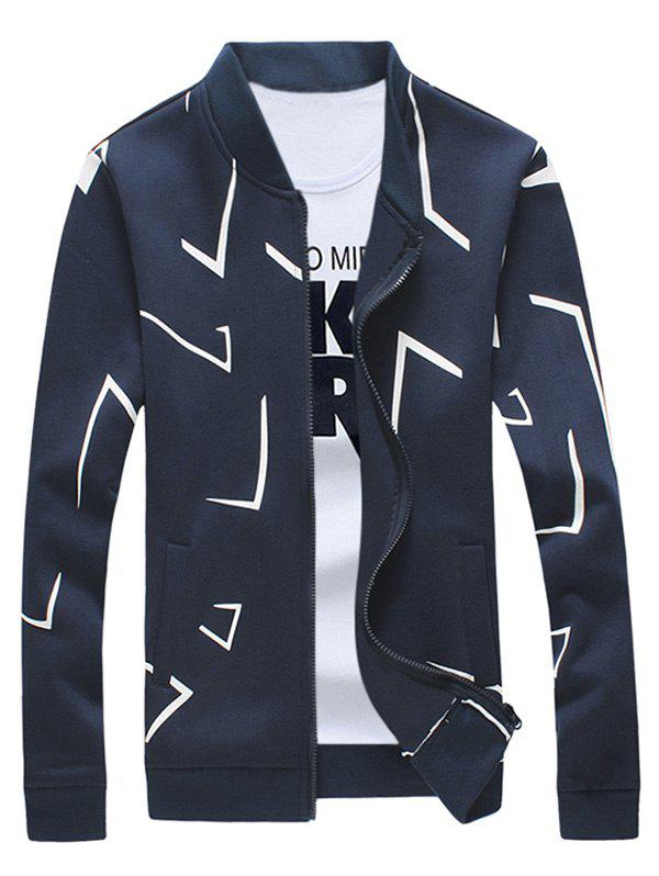 Rib Splicing Printed Zip Up Jacket grid pattern rib insert zip up jacket
