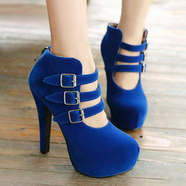 Trendy Flock and Buckles Design Women's Ankle Boots